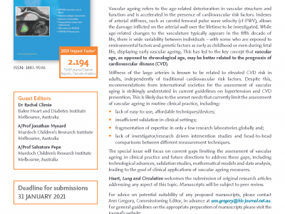 """Call for Papers: Heart, Lung and Circulation – Special Issue """"Vascular Ageing – Translating Research Into Clinical Practice"""""""