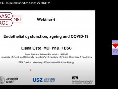 "Thank you to PD Dr. Elena Osto for today's webinar on ""Endothelial Dysfunction, Ageing and COVID-19"""
