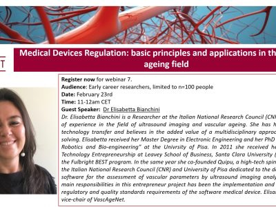 """NEW! Sign up now for webinar 7. """"Medical Devices Regulation: basic principles and applications in the vascular ageing field"""" with Dr Elisabetta Bianchini"""