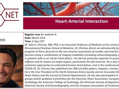 """Registration for webinar 8 on """"Heart-Arterial Interaction"""" is open!"""