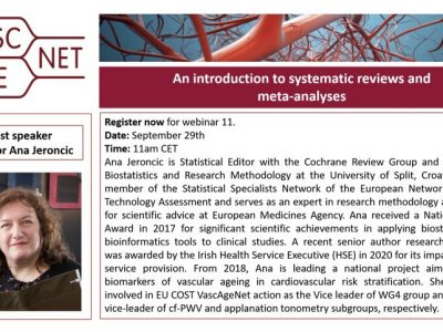 """Registration is now open for webinar 11: """"An Introduction to systematic reviews and meta-analysis"""""""